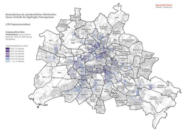 Dachraumpotenzialanalyse - Kulisse der relevanten Gründerzeitbebauung