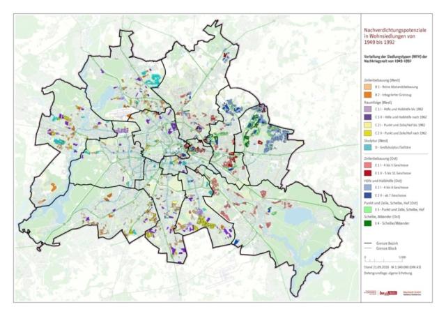 Typisierungen der Siedlungsbestände der Jahre 1949 bis 1992 in Berlin