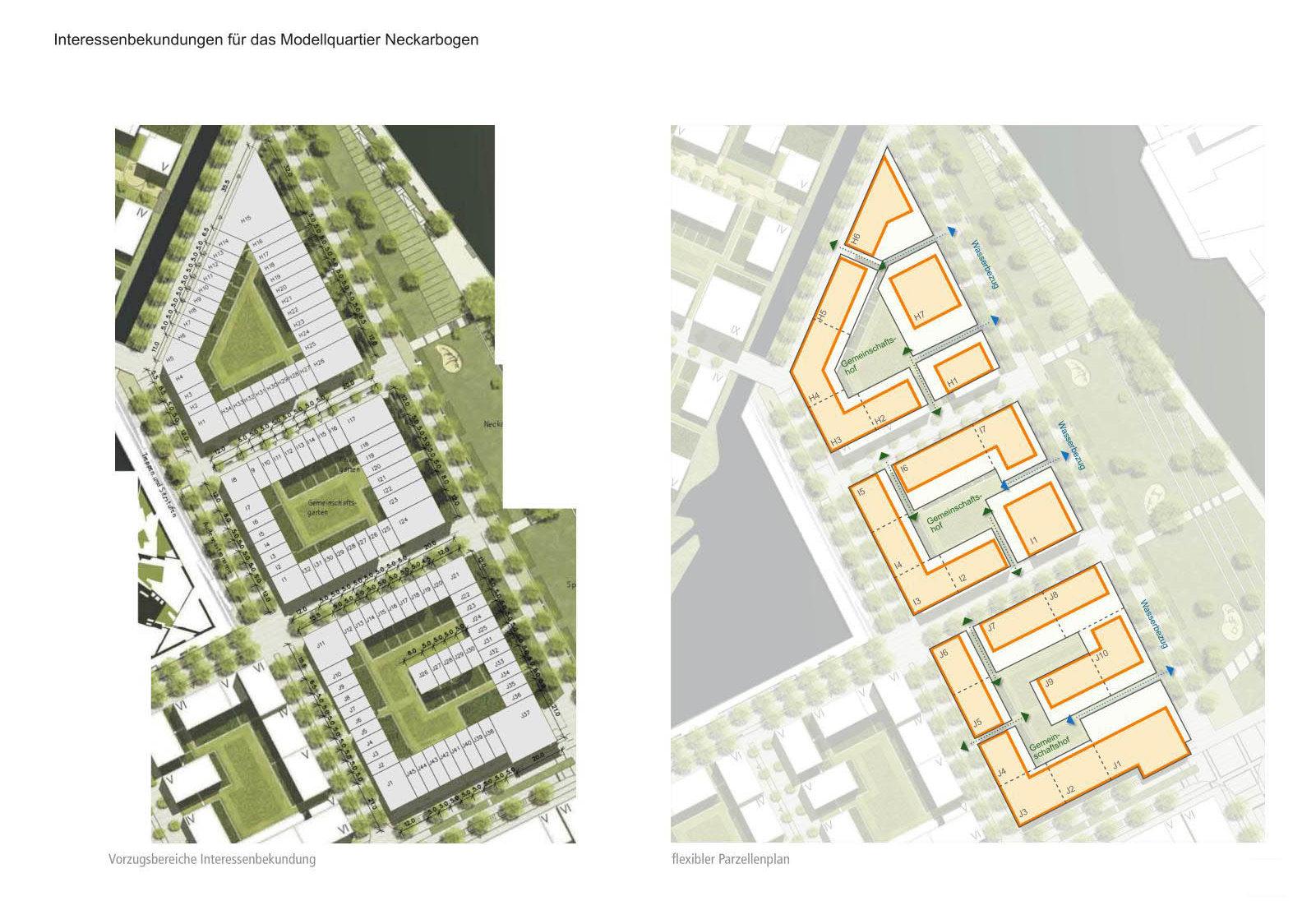 Heilbronn Neckarbogen Interessensbekundung Parzellen- und Baufeldplan