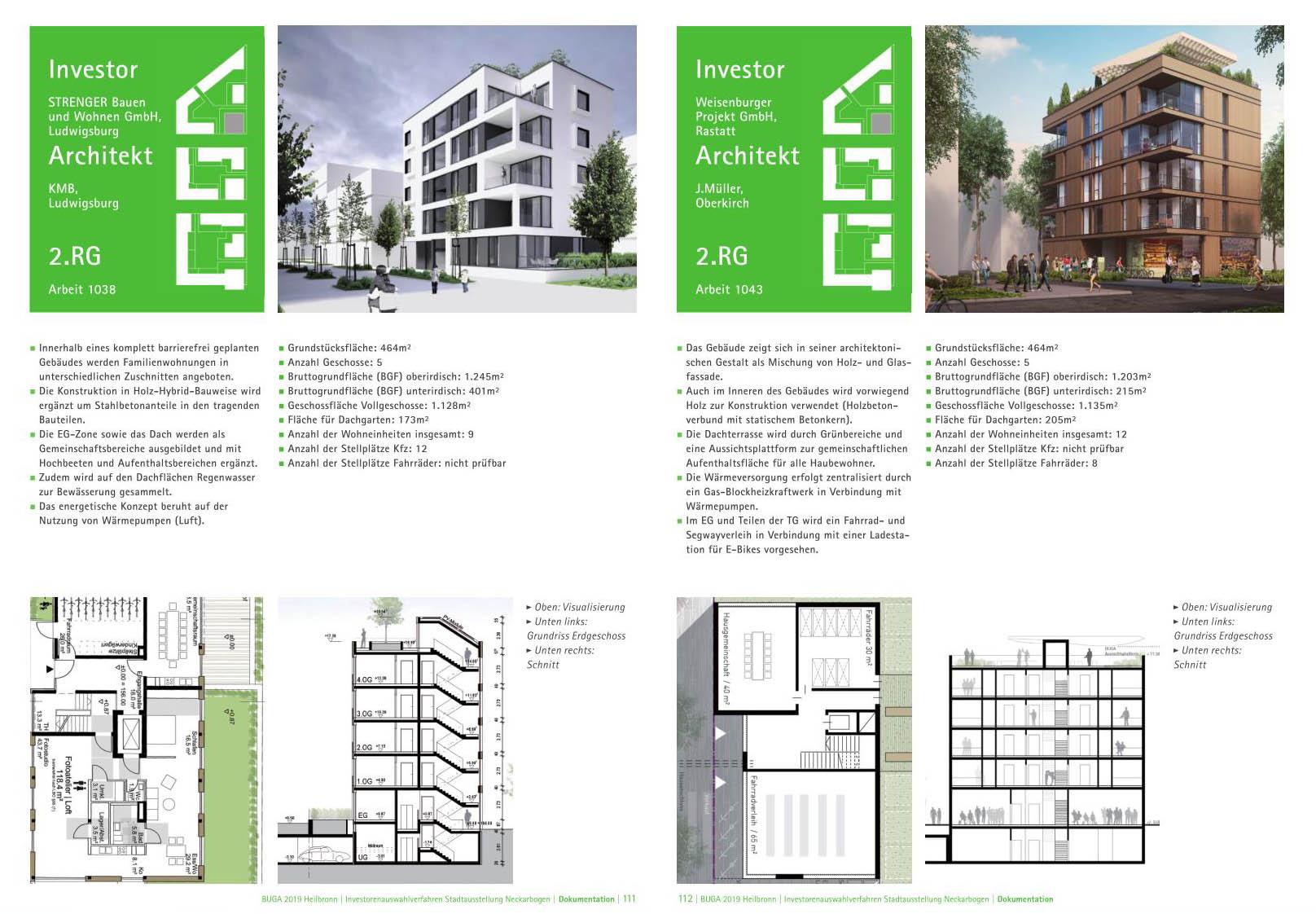 Gegenüberstellung Entwürfe für ein Baufeld (Beispiel)
