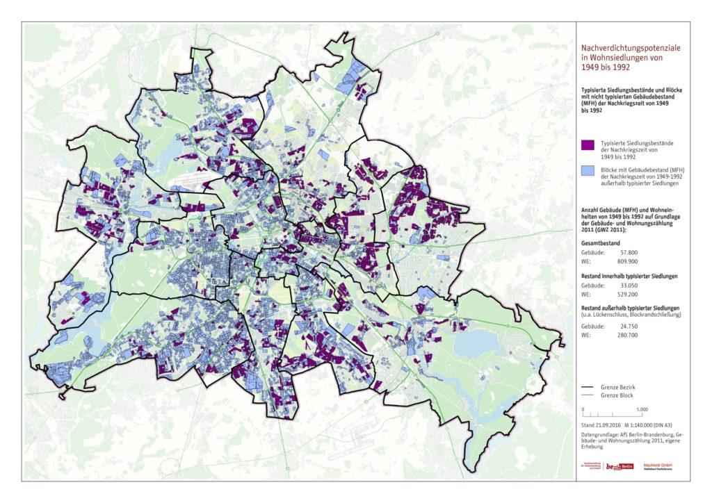 Gesamtbestand Blöcke mit Nachkriegsbebauung und typisierte Siedlungsbestände 1949 bis 1992 in Berlin