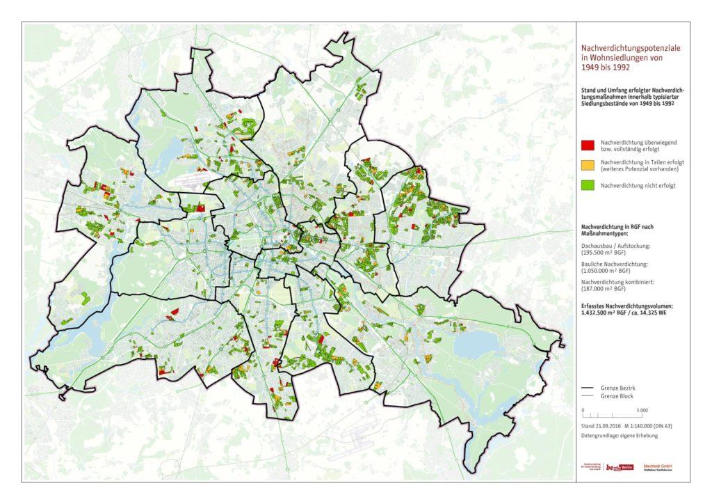 Bereits erfolgte Nachverdichtung in typisierten Siedlungsbeständen der Jahre 1949 bis 1992 in Berlin