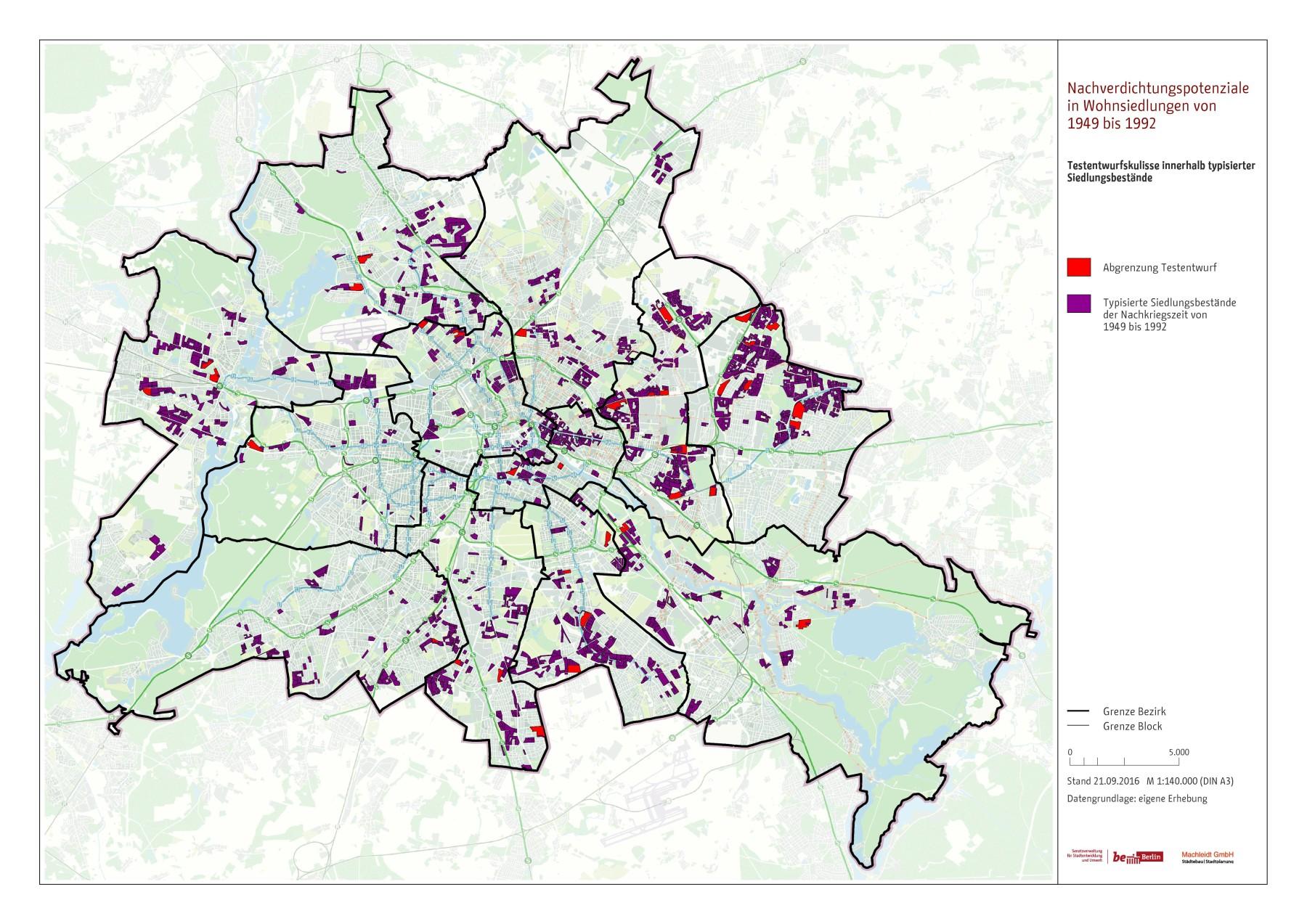 Auswahl der Siedlungen für Testentwürfe in Siedlungsbeständen der Jahre 1949 bis 1992 in Berlin