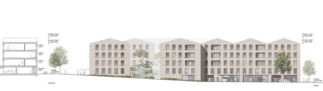 Ansicht Quartiersplatz (Schnitt D-D) M 1:200
